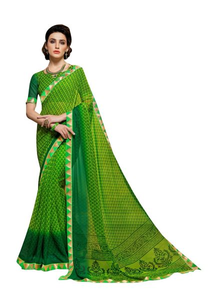 Lacer Printed Georgette Saree (Green_SCT3275)