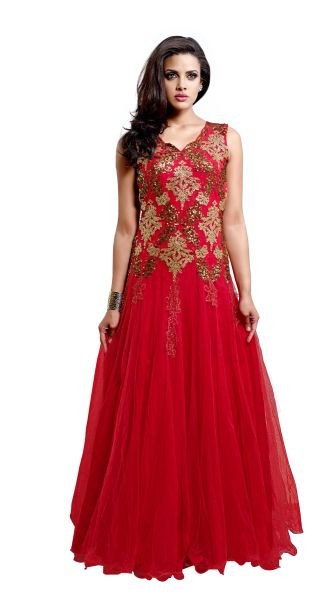 279a3385133d Designer Semi Stitched Western Dress Red Net Long Gown SC1043