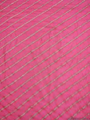 Designer Chinon Pink Zari stripe Embroidered for Blouse Crop Top Cut 1.5 Meter ( 152 cms )