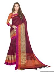 Solid Border Maroon Cotton Silk Saree