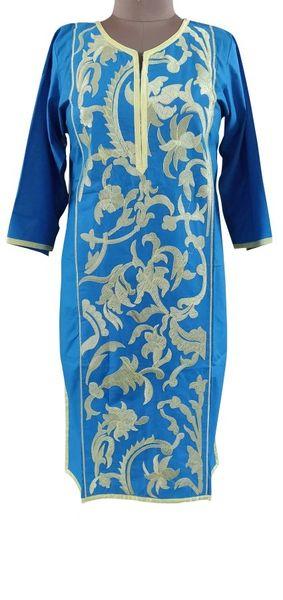Designer Semi Stitched Blue Pakistani Embroidered Kurti Kurta Tunic PK04