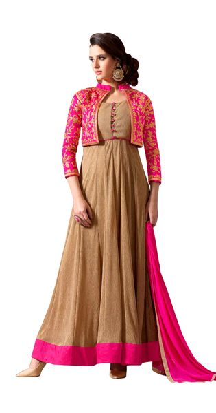 Designer Brown Georgette Embroidered Dress Material With Nazmeen Dupatta M10027