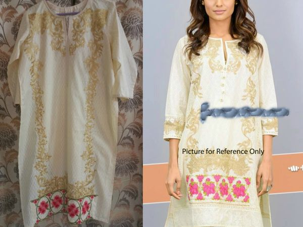 Designer Semi Stitched Cream Pakistani Embroidered Kurti Kurta Tunic PK03