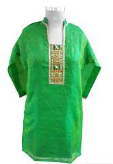 Green Chanderi with Lining Kurta (Plus Size_3XL)