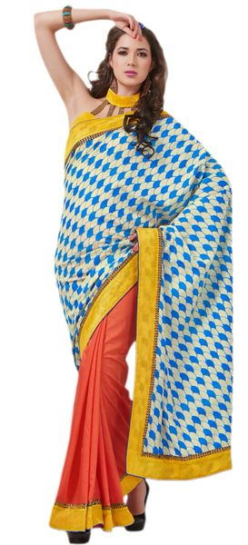 Designer Bhagalpuri Cotton Silk Printed and Lacer Border Saree SC1607