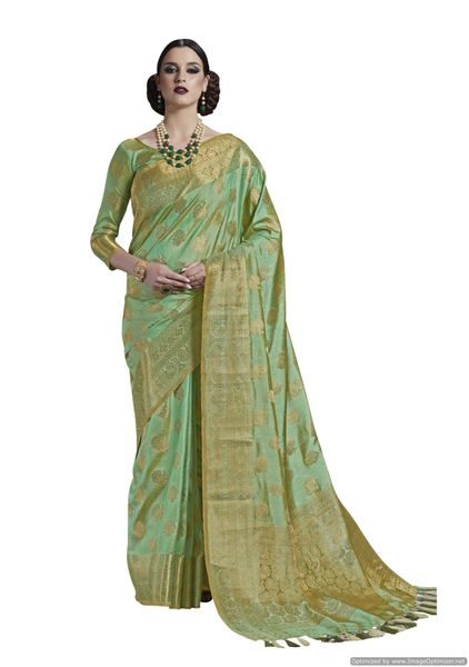Green Two Tone Silk Saree