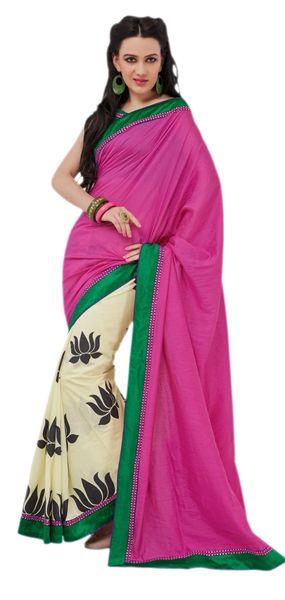 Designer Bhagalpuri Cotton Silk Printed and Lacer Border Saree SC1611