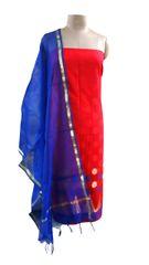 Designer Banarsi Red Cotton Silk Weaven Shalwar Kameez Dress Material BSD07