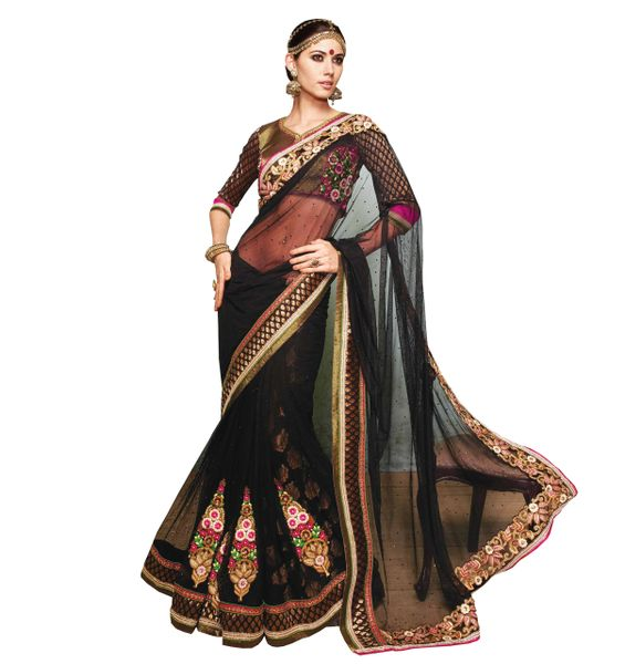 Designer Black Net Heavy Embroidered Saree With Semi Stitched Blouse SC8012