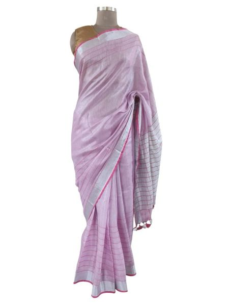 Silver Border Tissue Linen Cotton Striped Saree (Pink_BLS08)