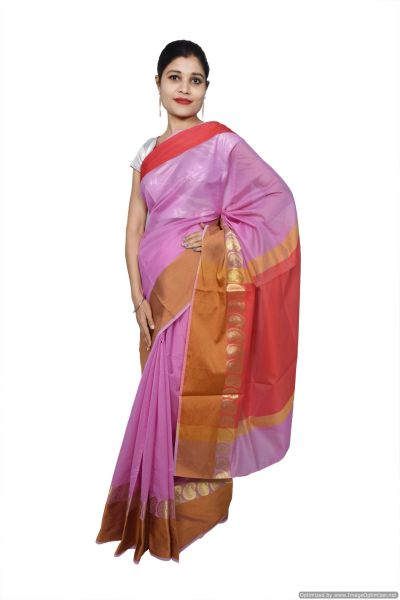 Mauve Banarsi Cotton Silk Saree with Running Blouse Fabric BS24