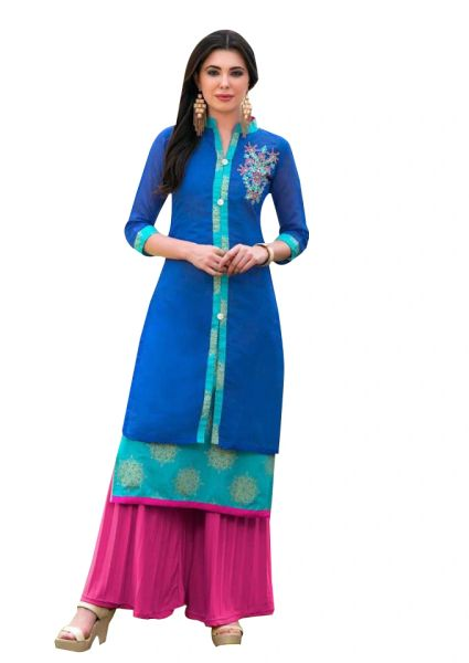 Designer Blue Rayon Cotton Kora Silk Layered Embroidered Long Kurta Dress Size XL SCKSD211