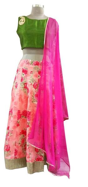 Peach Floral Lehenga Choli with Raw Silk Crop top and Dupatta ALC05