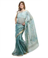Light Turquoise Gold Weave Chanderi Saree