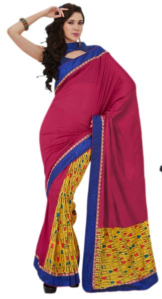 Designer Bhagalpuri Cotton Silk Printed and Lacer Border Saree SC1606