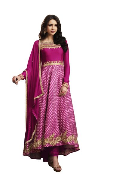 Designer Semi Stitched Pink Slub Satin Dress Material SC3062