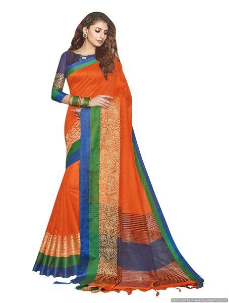 Solid Border Orange Cotton Silk Saree