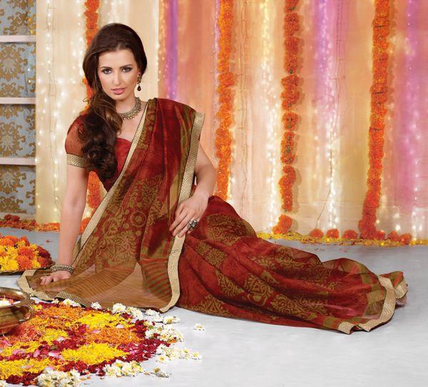 Supernet Cotton Lacer Printed copper orange saree sari SC1112