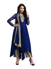 Designer Navy Blue Silk Georgette Semi Stitched Dress Material SC3070