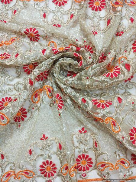 Designer Net Beige Orange Red Resham Sequin Jaal Embroidered for Blouse Crop Top, Kurti cut 3.2 Meter ( 325 cms )