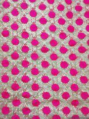 Designer Net Beige Pink Resham Embroidered For Blouse Crop Top, Kurti Cut 3.2 Meter ( 325 cms )