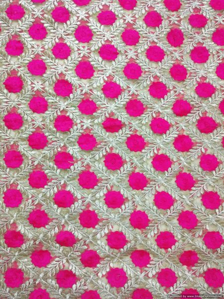 Designer Net Beige Pink Resham Embroidered For Blouse Crop Top, Kurti Cut 3.2 Meter ( 325 cms )