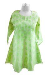 Green Cotton Chikankari Lucknowi Kurta