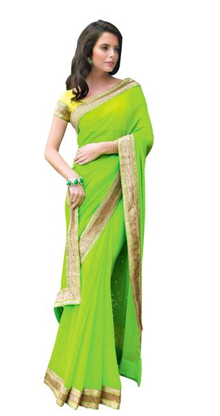 Green Georgette Saree SC31528