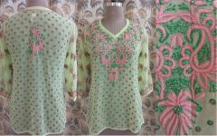 Designer Georgette Light Green Chikankari Short Kurti Kurta SC907 SZ 42