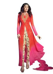 Designer Orange and Pink Georgette Long Semi stitch Anarkali Partywear Dress material SC4009
