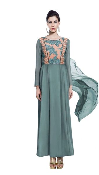 Designer Green Georgette Embroidered Dress Material With Chiffon Dupatta B7143