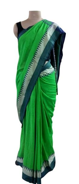 Exclusive Festival Temple Border Green Khadi Cotton Saree Khadi3