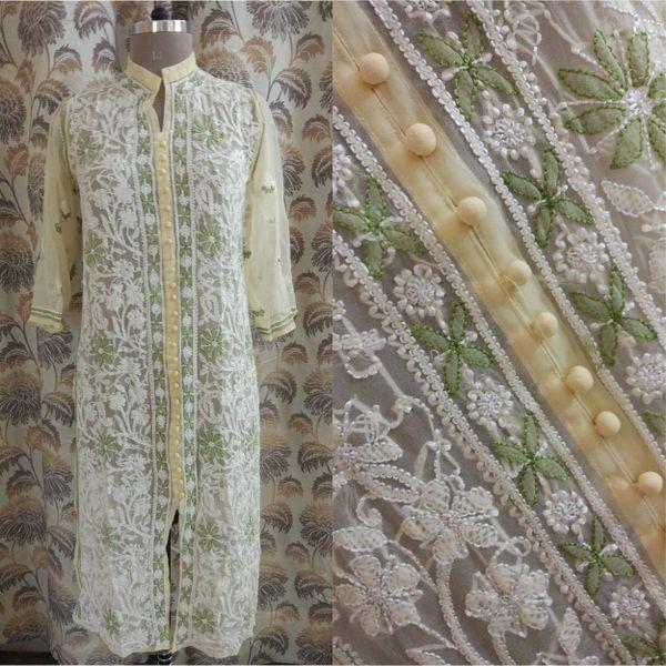 Designer Georgette Cream Chikankari Long Kurti Kurta SC903 SZ 40