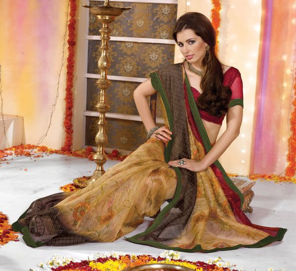 Supernet Cotton Lacer Printed Cream yellowish saree sari SC1108