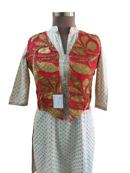 Carrot Pink Gotta Embroidered Ethnic Jacket Shrug