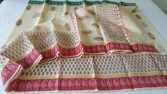 Designer Beige Block Printed Kota Cotton Saree KSC107