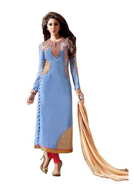 Designer Sky Blue Georgette Embroidered Dress Material Nazmeen Dupatta M10031