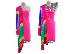 Exclusive Pink Cotton Dress Material With Kutchi Embroidered Ethnic Jackets JSD16