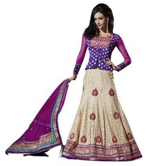 Purple Cream Net Lehenga Choli Dupatta Fabric Only SC511