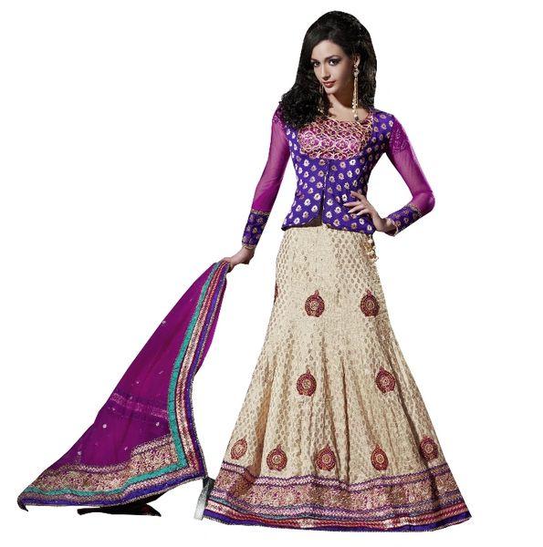 Purple Cream Net Lehenga Choli Dupatta Fabric Only SC511