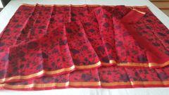 Designer Red Gold Border Kota Cotton Printed Saree KCS72
