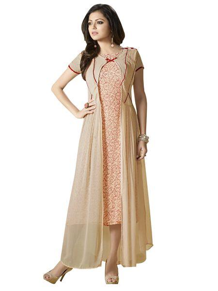 Designer Beige Georgette Kurti Kurta Dress Size XL SCLT914