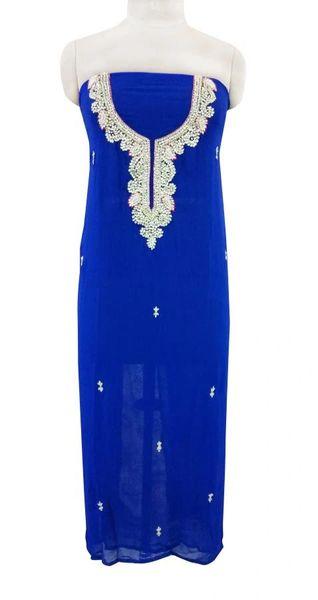 Jaipuri Kundan Hand Work Blue Georgette Kurti Kurta Fabric GP39