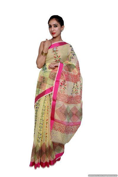 Designer Beige Block Printed Kota Cotton Saree KSC105
