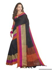 Solid Border Black Cotton Silk Saree