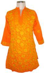 Orange Kamas Crepe Kashmiri work Kurti