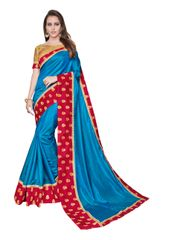 Designer Two Tone Blue Silk Border Saree with Blouse and Jacket