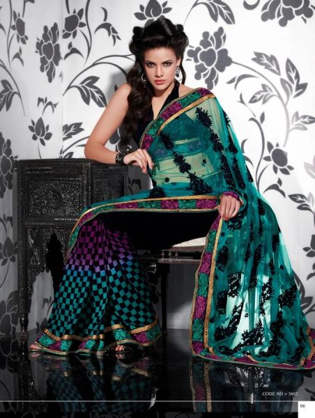 Green Multi Net Embroidered Saree SCA3602