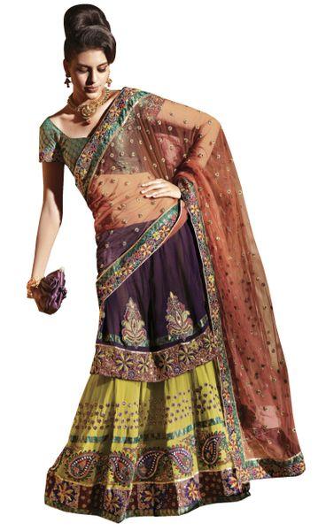 Orange Net Embroidered Lehenga Saree Sari SC6113