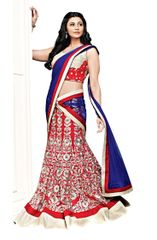 Red Cream Cotton Mix Three Piece Lehenga Choli Dupatta Fabric Only SC2366
